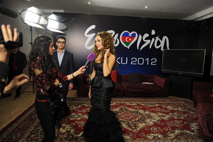 Sabina Babayeva gives an interview to Ictimai TV after being named the winner of Azerbaijan's national Eurovision Song Contest finals at the Heydar Aliyev Palace in Baku, Azerbaijan on February 12, 2012.